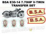 BSA E30-14 770cc 1930 Transfer Decal Set